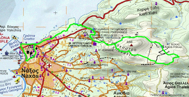 NAXOS TRAIL RACE 11km map